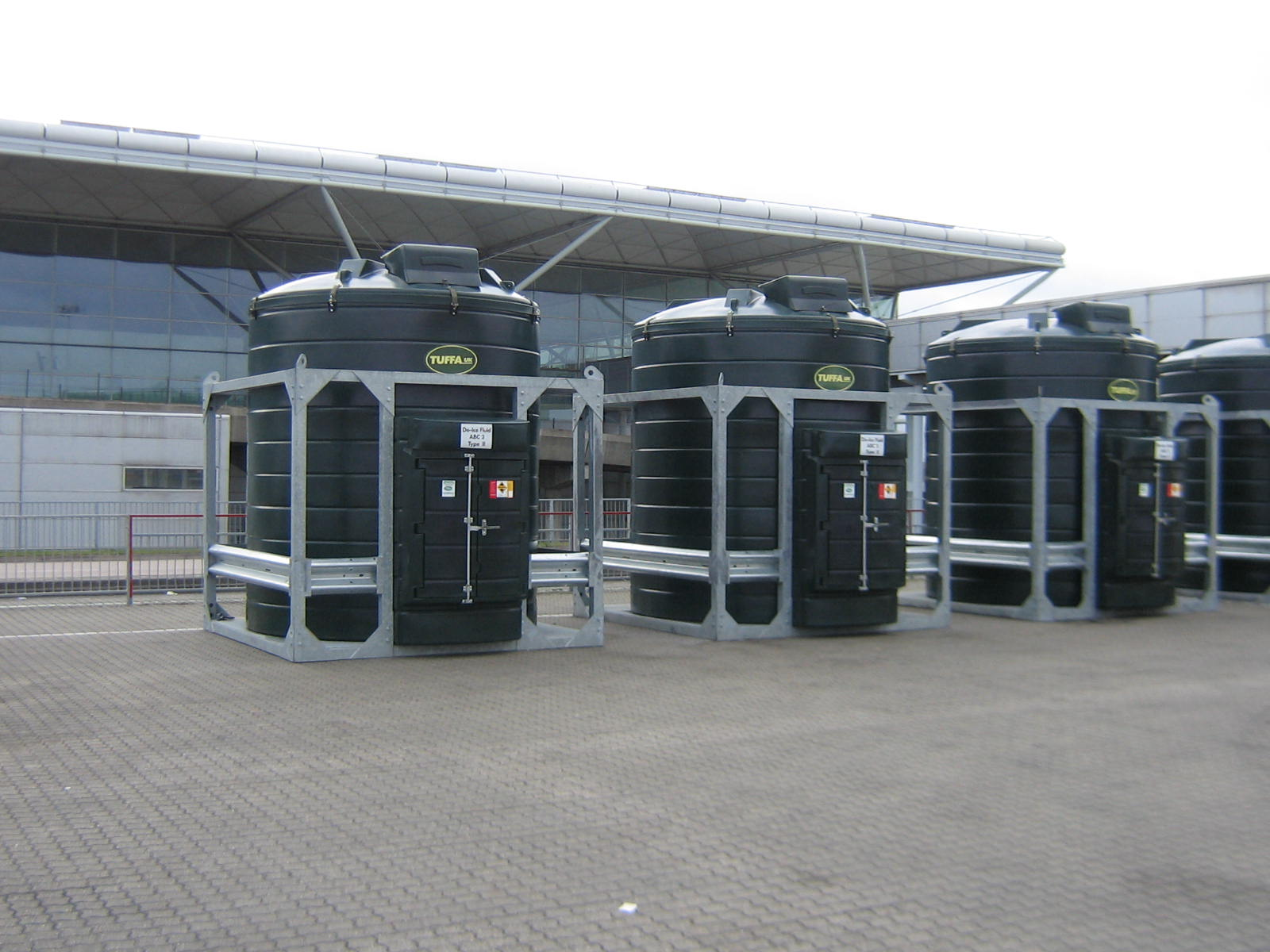 Bunded de-icer storage tanks at airport