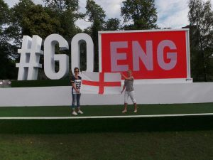 Tuffa's Charlie supporting England at the Commonwealth Games in Glasgow recently