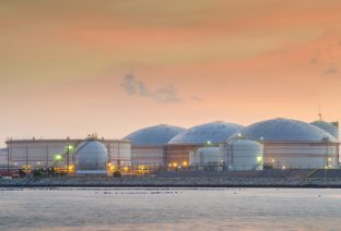 oil tank in evening