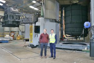 Andrew Griffiths visits Tuffa Tanks 2nd March 2018 (shaking hands with General Manager James Shenton by Oven)