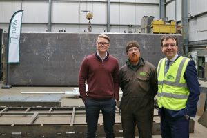 Andrew Griffiths visits Tuffa Tanks 2nd March 2018 (with General Manager James Shenton and Steel Shop Supervisor Martin Maras)