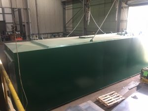 Heavy Metal. The 12m x 3m, 15 tonne steel bunded tank in Tuffa's workshop