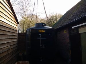 The new fire-protected bunded oil tank in position