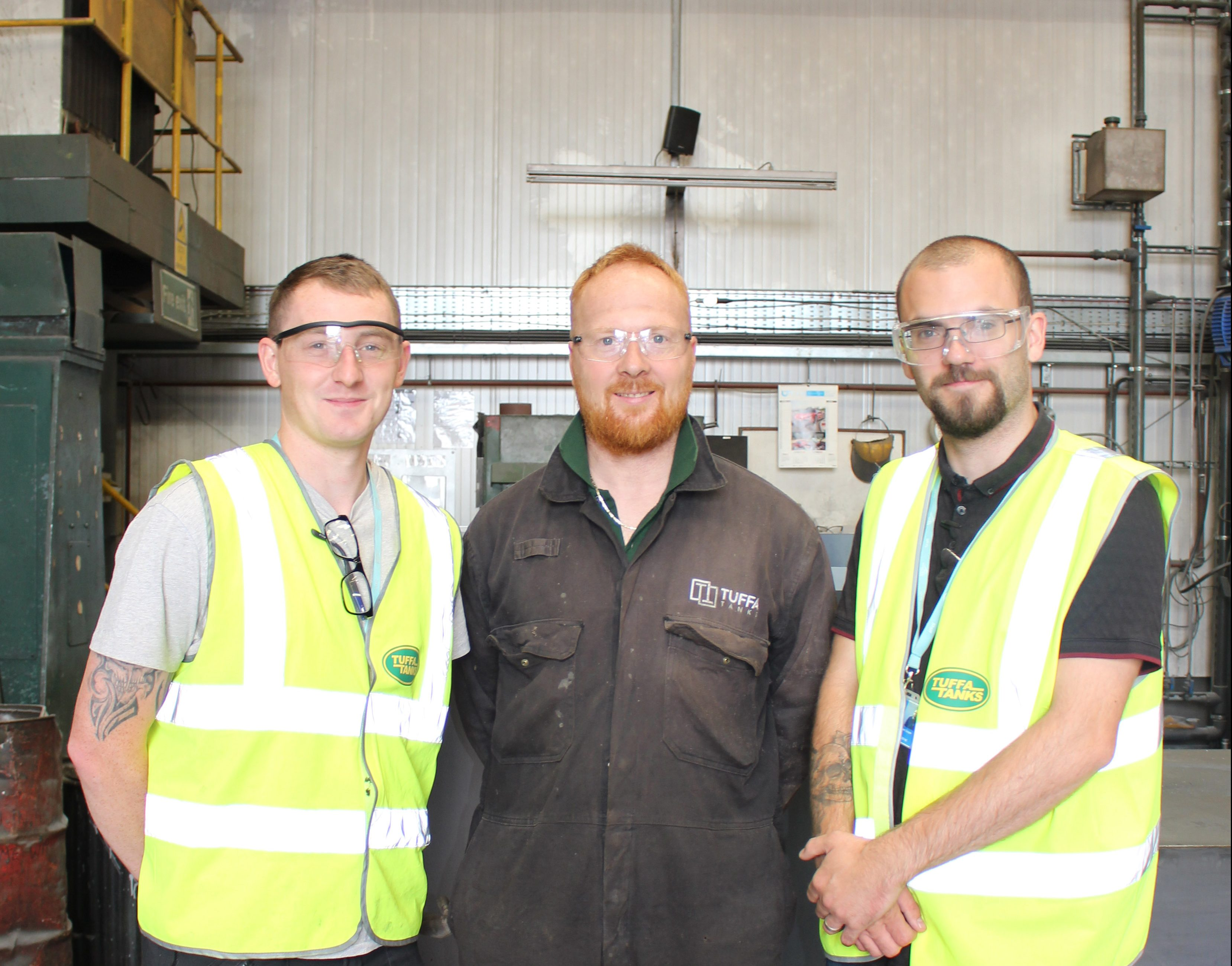 Tuffa Steel Workshop Manager Martin Maras with Tom and Liam