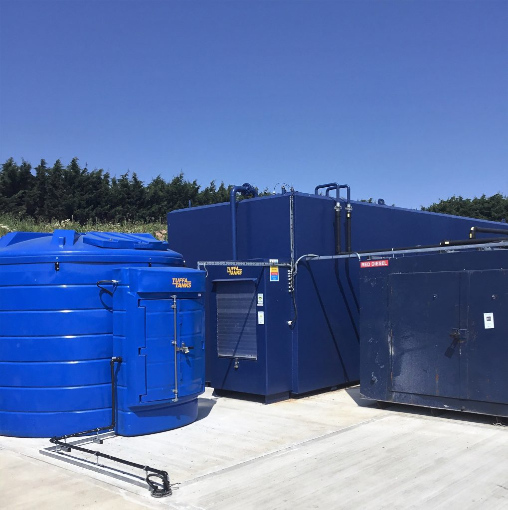 The steel diesel tank and 10,000 litre AdBlue tank in position at Pilgrim Foodservices