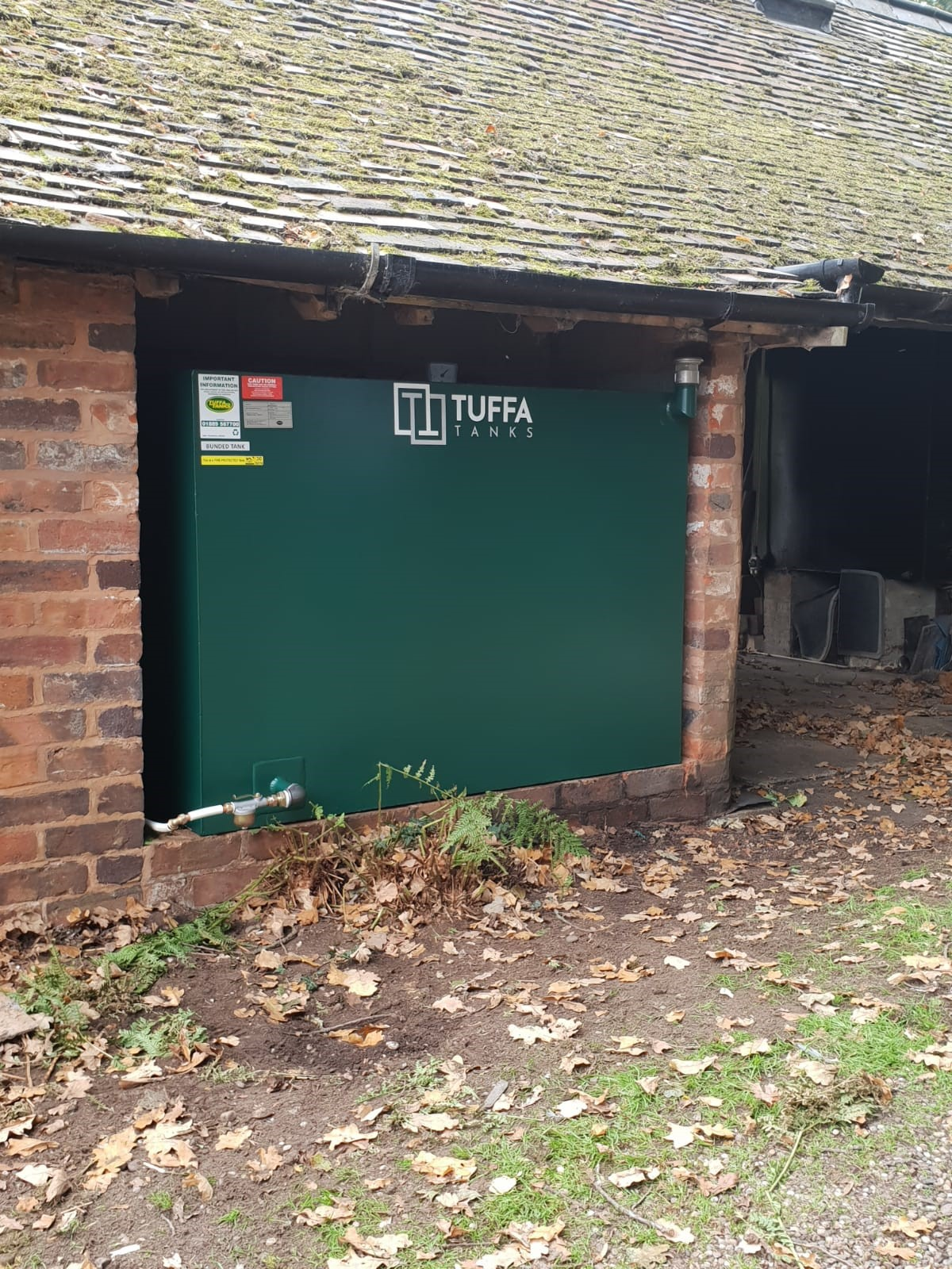 The new steel tank located in the out-building - safe, secure and compliant