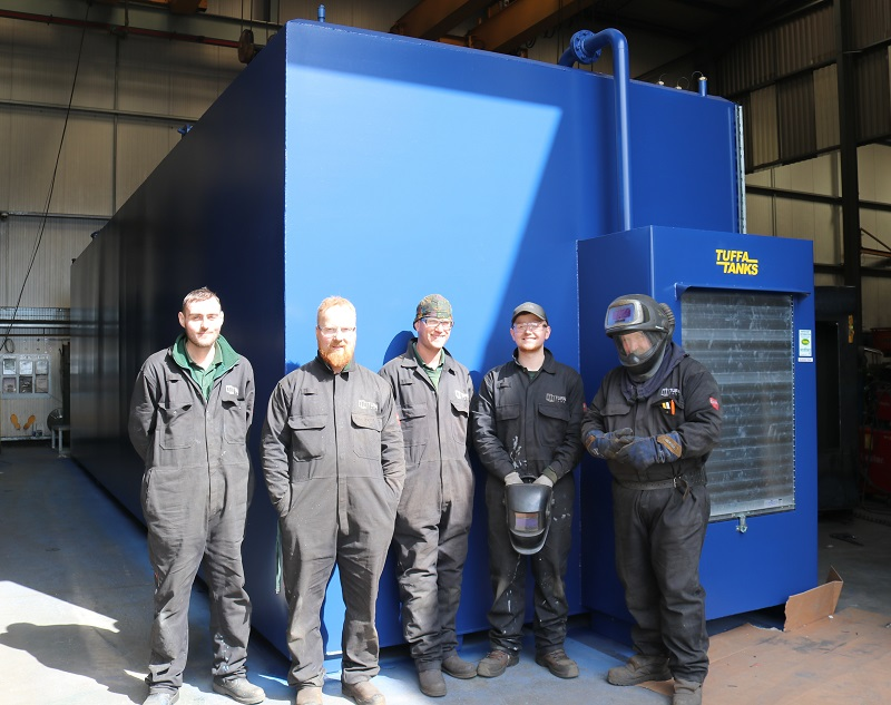 Lee, Martin, Andy, Callum and Radim (l-r). The Tuffa steel crew with the 80,000 litre steel tank